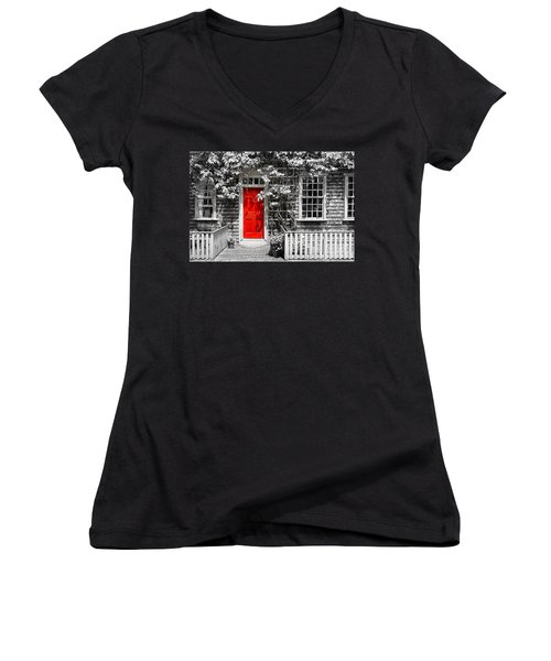 The Red Door Women's V-Neck T-Shirt (Junior Cut) by Sabine Jacobs