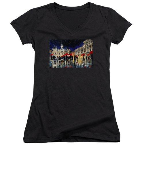 The Rendezvous Of Terreaux Square In Lyon Women's V-Neck T-Shirt
