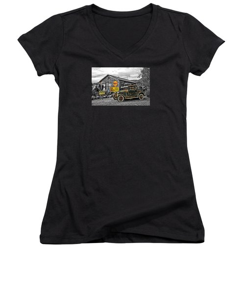 The Resting Place Women's V-Neck T-Shirt (Junior Cut) by I'ina Van Lawick