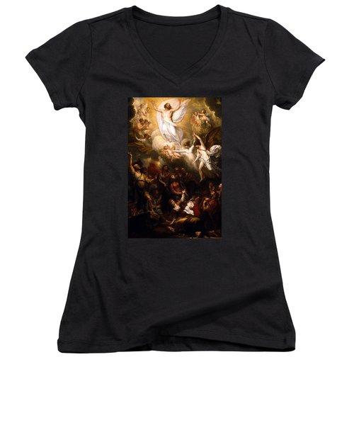 The Resurrection Women's V-Neck T-Shirt (Junior Cut) by Munir Alawi