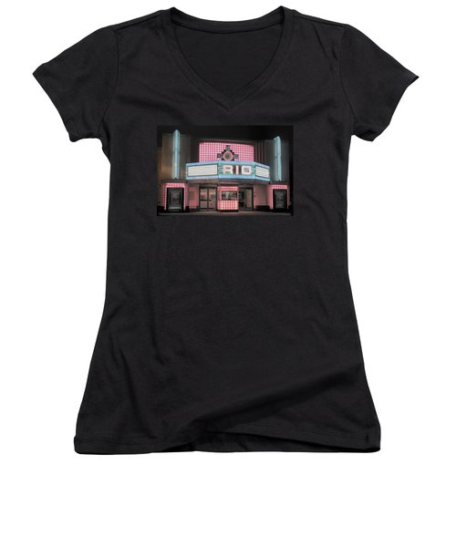 The Rio At Night Women's V-Neck T-Shirt (Junior Cut) by Lynn Sprowl