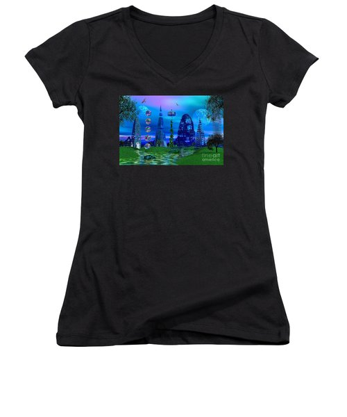Women's V-Neck T-Shirt (Junior Cut) featuring the photograph The River Quinque by Mark Blauhoefer