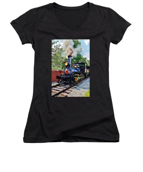 The Rxr At Greefield Village Women's V-Neck T-Shirt (Junior Cut) by Daniel Thompson
