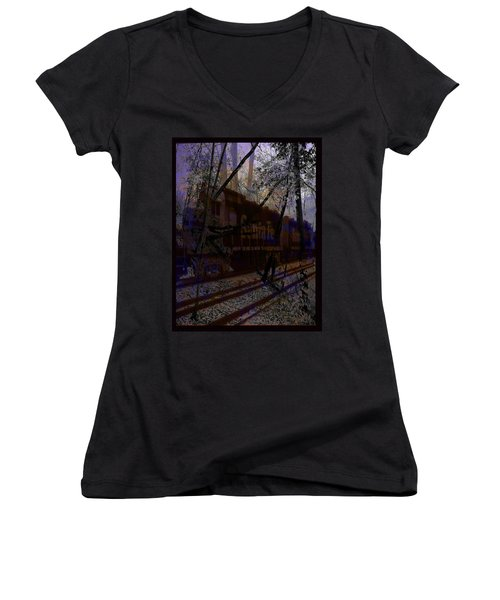Women's V-Neck T-Shirt (Junior Cut) featuring the digital art The Santa Fe by Cathy Anderson