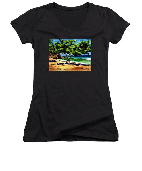 Women's V-Neck T-Shirt (Junior Cut) featuring the painting The Sea-grape Tree by Laura Forde