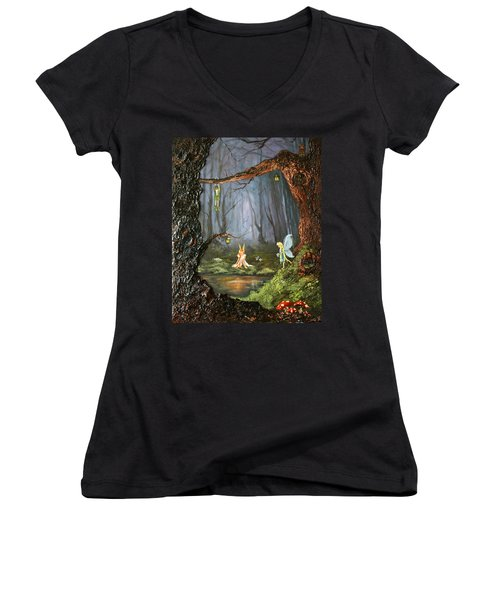 The Secret Forest Women's V-Neck T-Shirt (Junior Cut) by Jean Walker