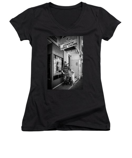 The Sidewalk Humidor  Women's V-Neck (Athletic Fit)