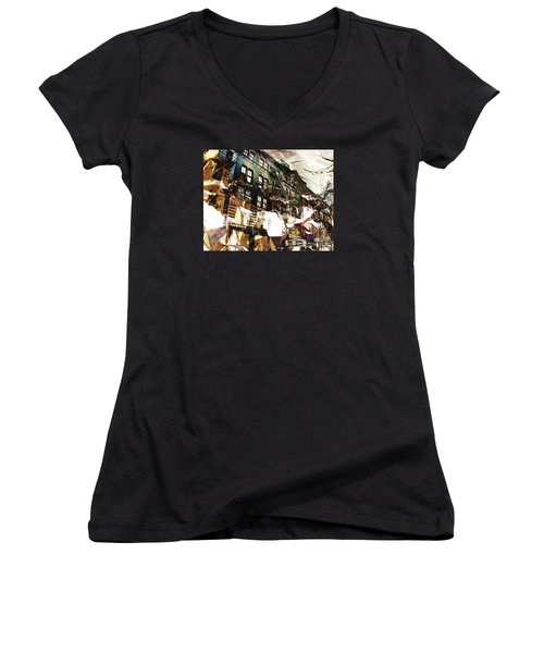 The Silver Factory / 231 East 47th Street Women's V-Neck T-Shirt (Junior Cut) by Elizabeth McTaggart