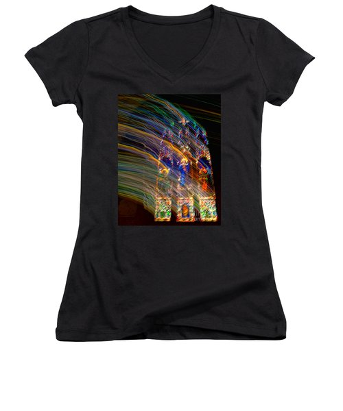 The Spirit Of The Saints Women's V-Neck T-Shirt (Junior Cut) by Kathleen K Parker