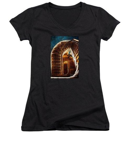 The Staircase Women's V-Neck T-Shirt (Junior Cut) by Arlene Carmel