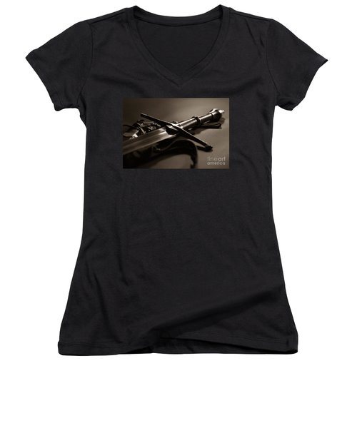 The Sword Of Aragorn 2 Women's V-Neck T-Shirt (Junior Cut) by Micah May