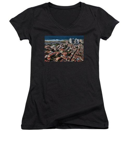 Women's V-Neck T-Shirt (Junior Cut) featuring the photograph the Tel Aviv charm by Ron Shoshani