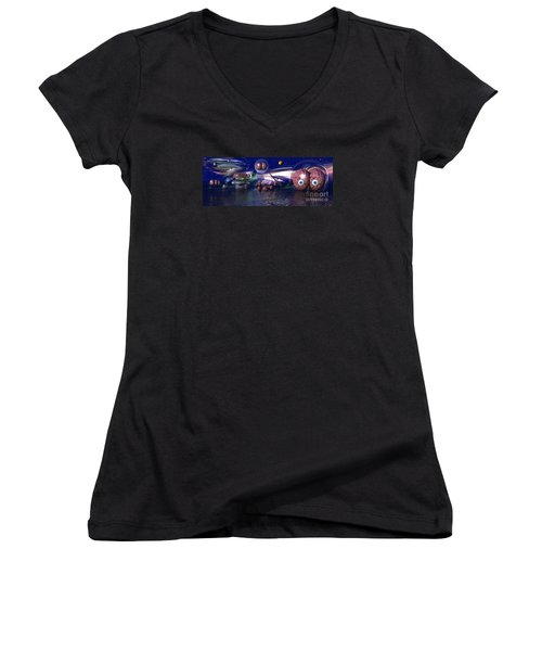 Women's V-Neck T-Shirt (Junior Cut) featuring the digital art The Thinker by Jacqueline Lloyd