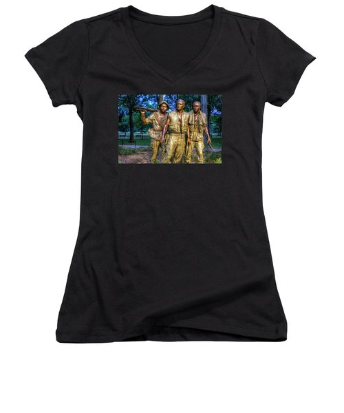 The Three Soldiers Facing The Wall Women's V-Neck (Athletic Fit)
