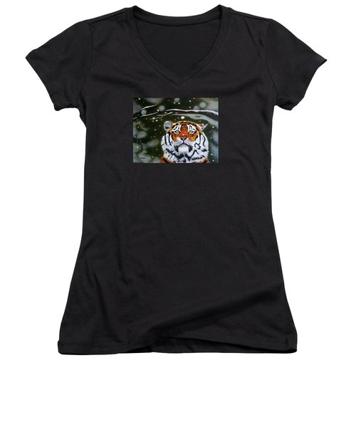 The Tiger In Winter Women's V-Neck (Athletic Fit)