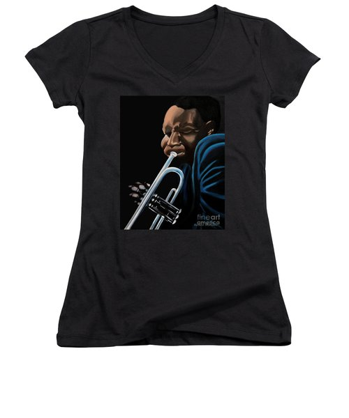 Women's V-Neck T-Shirt (Junior Cut) featuring the painting The Trumpeter by Barbara McMahon