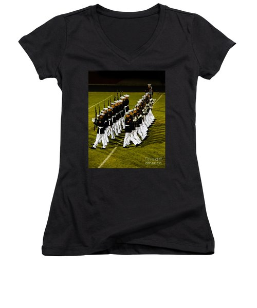 The United States Marine Corps Silent Drill Platoon Women's V-Neck T-Shirt (Junior Cut) by Robert Bales
