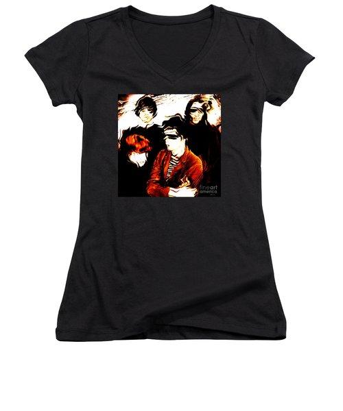 The Velvet Underground  Women's V-Neck T-Shirt (Junior Cut) by Elizabeth McTaggart