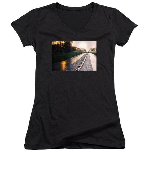 Women's V-Neck T-Shirt (Junior Cut) featuring the photograph The Vietnam Wall Memorial  by John S