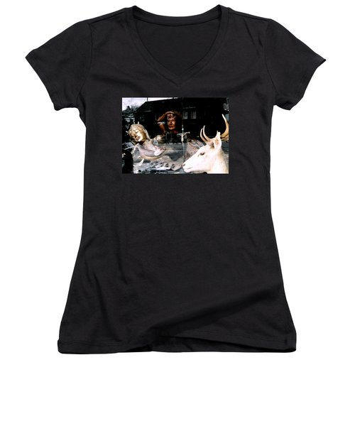 Women's V-Neck T-Shirt (Junior Cut) featuring the photograph A Surreal View by Michael Hoard