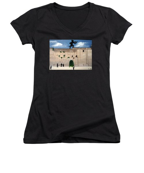 Women's V-Neck T-Shirt (Junior Cut) featuring the painting The  Western Wall And Fiddler On The Roof by Nora Shepley