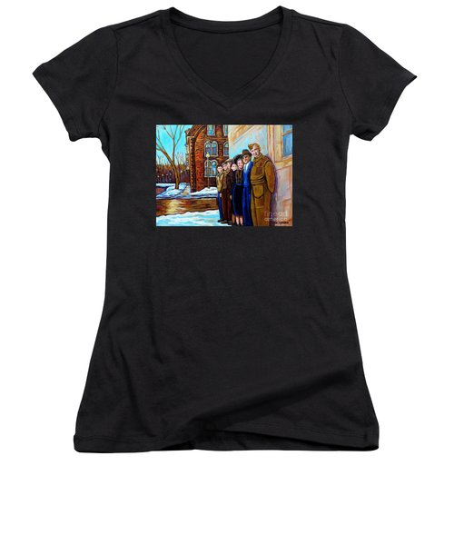 The War Years 1942 Montreal St Mathieu And De Maisonneuve Street Scene Canadian Art Carole Spandau Women's V-Neck (Athletic Fit)
