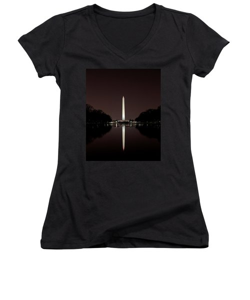 The Washington Monument - Reflections At Night Women's V-Neck T-Shirt