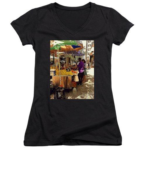 Women's V-Neck T-Shirt (Junior Cut) featuring the photograph The Water Jug by Miriam Danar