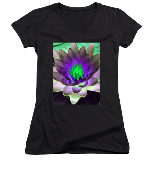 Women's V-Neck T-Shirt (Junior Cut) featuring the photograph The Water Lilies Collection - Photopower 1115 by Pamela Critchlow