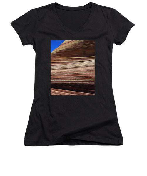 'the Wave' North Coyote Buttes 06 Women's V-Neck T-Shirt (Junior Cut) by Jeff Brunton