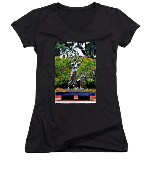 The Waving Girl Of Savannah Women's V-Neck (Athletic Fit)