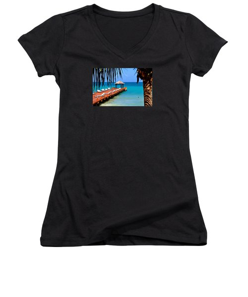 The Wedding Embrace Women's V-Neck T-Shirt (Junior Cut) by Kicking Bear  Productions