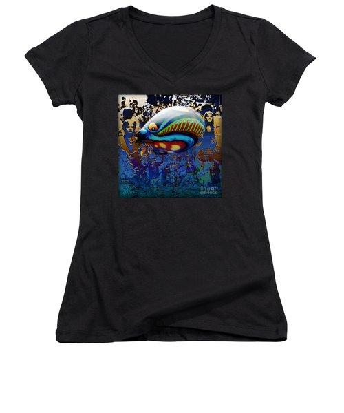 Women's V-Neck T-Shirt (Junior Cut) featuring the digital art The Whale Flight by Rosa Cobos