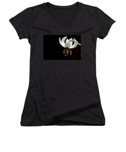 The White Form Of Lilium Martagon Named Album Women's V-Neck T-Shirt (Junior Cut) by Torbjorn Swenelius