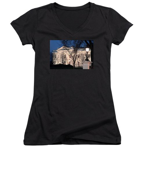 Women's V-Neck T-Shirt (Junior Cut) featuring the photograph The White House At Dusk by Cora Wandel