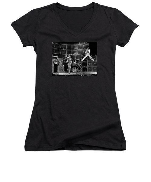 The Who - A Pencil Study - Designed By Doc Braham Women's V-Neck (Athletic Fit)