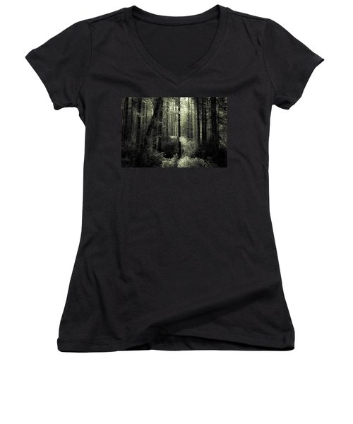 Women's V-Neck T-Shirt (Junior Cut) featuring the photograph The Woods by Katie Wing Vigil