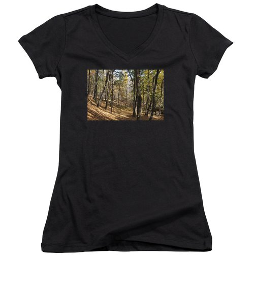 Women's V-Neck T-Shirt (Junior Cut) featuring the photograph The Woods by William Norton