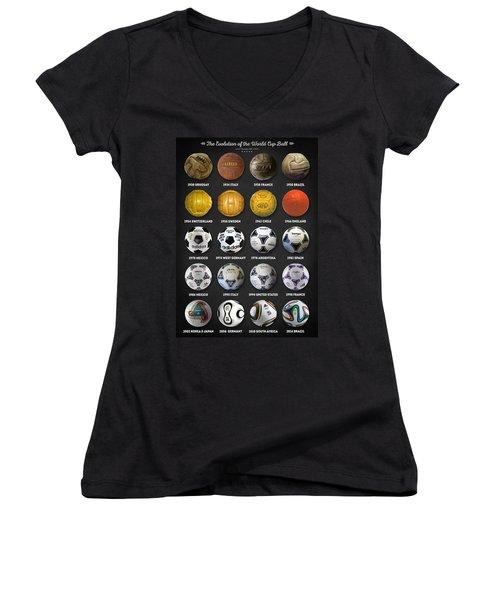 The World Cup Balls Women's V-Neck T-Shirt (Junior Cut) by Taylan Apukovska