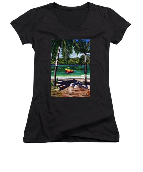 Women's V-Neck T-Shirt (Junior Cut) featuring the painting The Yellow And Red Boat by Laura Forde