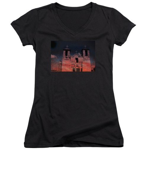 Women's V-Neck T-Shirt (Junior Cut) featuring the digital art This  by Cathy Anderson