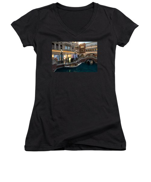 It's Not Venice - The White Wedding Gondola Women's V-Neck T-Shirt