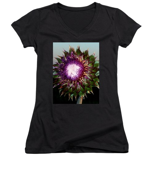 Thistle Night Women's V-Neck T-Shirt (Junior Cut)