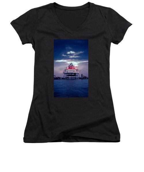 Thomas Point Shoal Lighthouse Women's V-Neck T-Shirt (Junior Cut) by Skip Willits