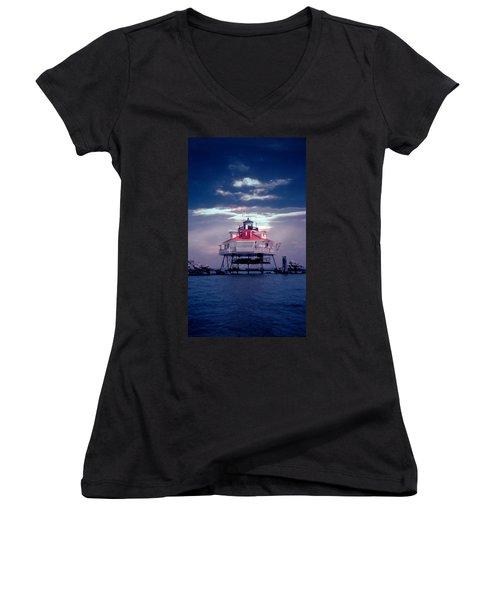 Thomas Pt.  Shoal Lighthouse Women's V-Neck