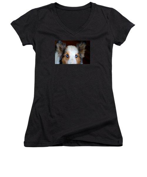 Those Eyes Women's V-Neck T-Shirt (Junior Cut) by Kathryn Meyer
