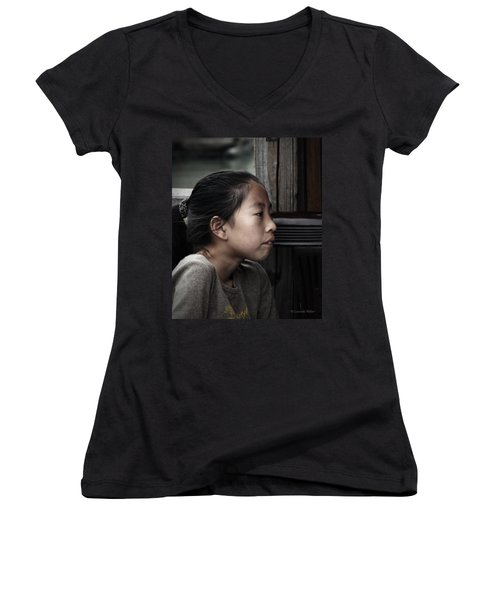 Women's V-Neck T-Shirt (Junior Cut) featuring the photograph Thoughts by Lucinda Walter