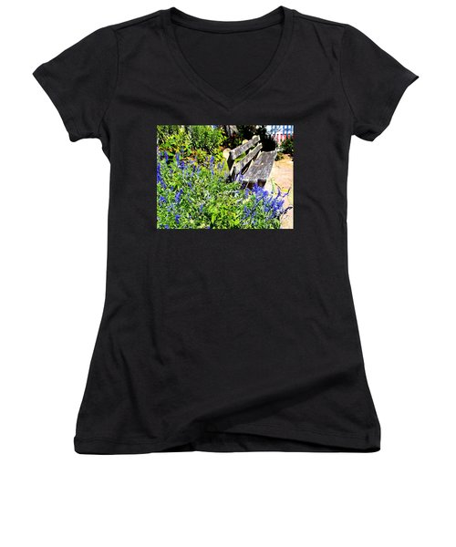 Thoughts On The Weathered Bench Women's V-Neck T-Shirt (Junior Cut) by Pamela Hyde Wilson