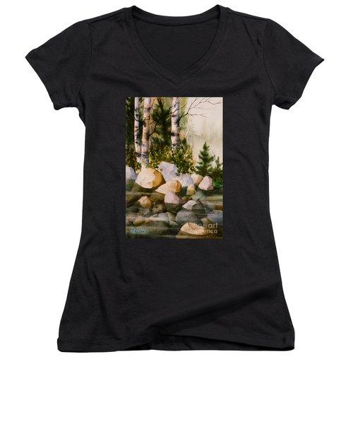 Three Birch By Rocky Stream Women's V-Neck T-Shirt (Junior Cut) by Teresa Ascone