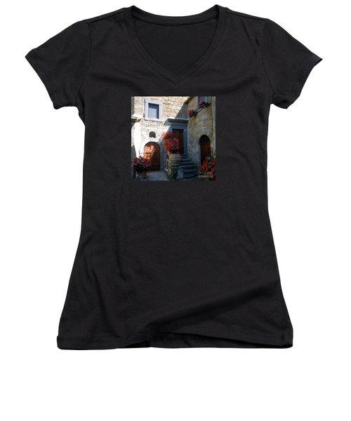 Three Doors In Bagnoregio Women's V-Neck T-Shirt (Junior Cut) by Barbie Corbett-Newmin
